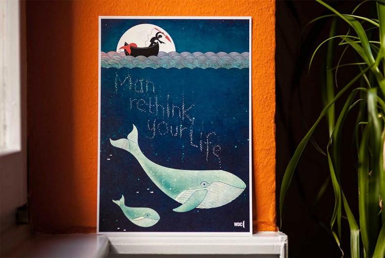 Kunstdruck in limitierter Auflage zum Schutz der Wale